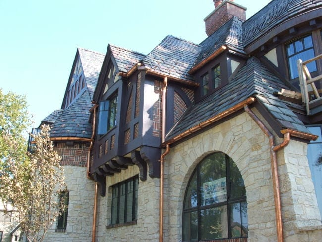 dream home with copper gutter